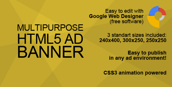 HTML5 Multipurpose Ad Banner - CodeCanyon Item for Sale