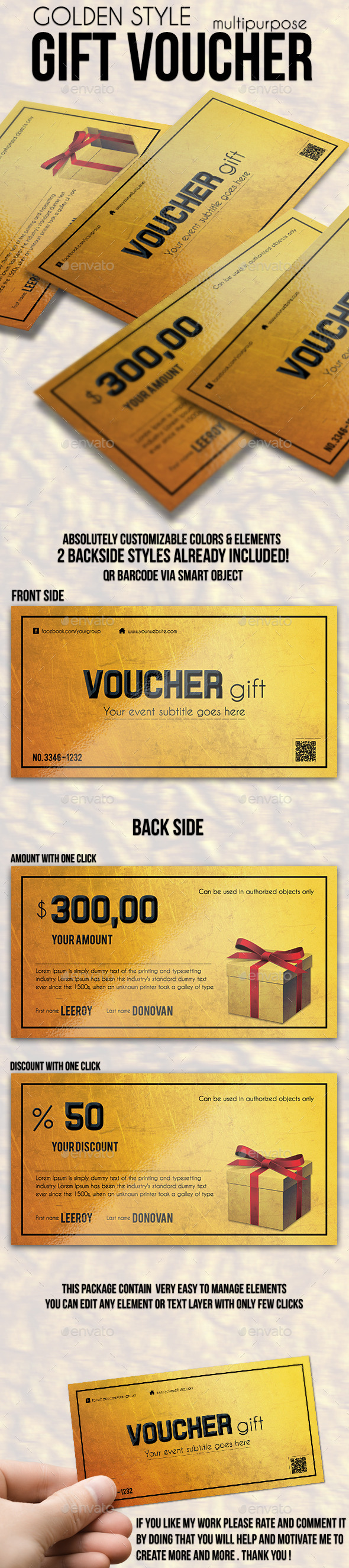 Multipurpose Golden Gift Voucher - Cards & Invites Print Templates