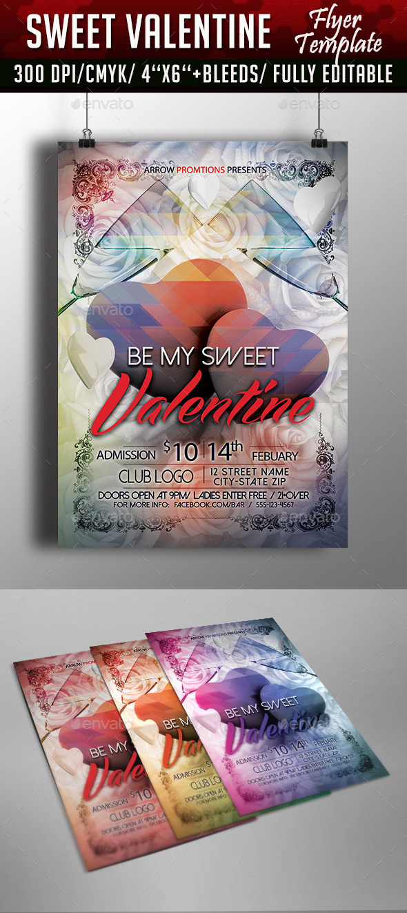 Sweet Valentine Flyer Template - Clubs & Parties Events