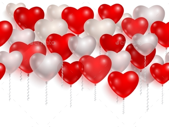 Red and White Party Balloons - Backgrounds Decorative