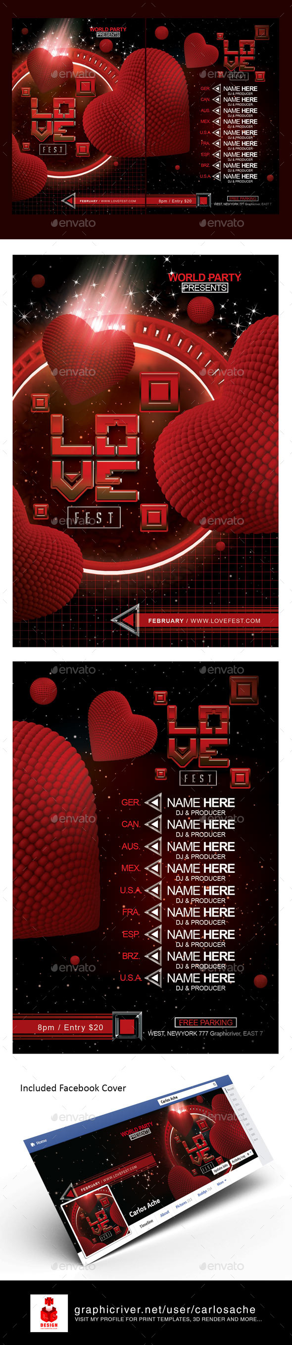 Love Fest Flyer Template - Holidays Events