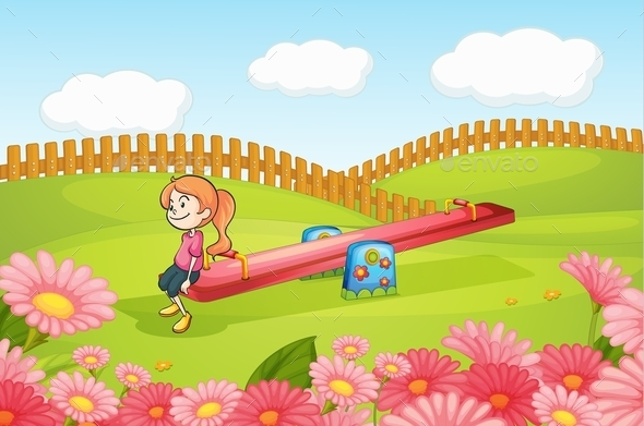 Girl Playing on a Seesaw - People Characters