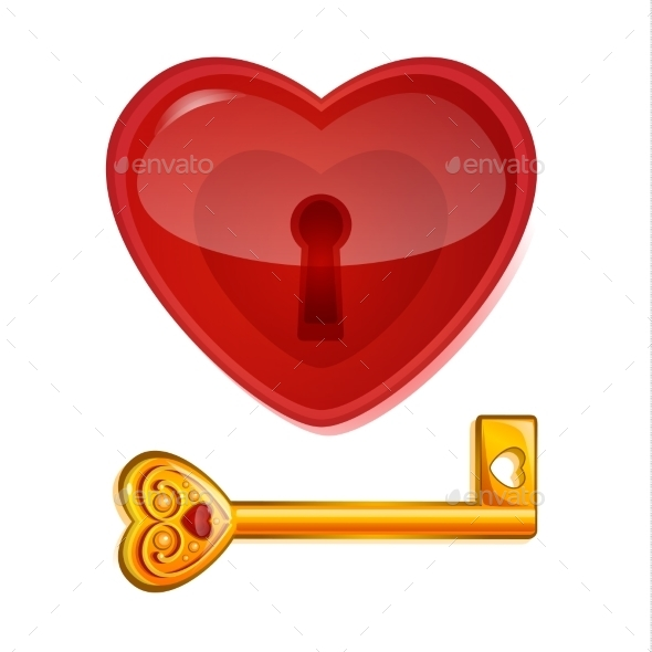 Red Lock in the Shape of a Heart - Valentines Seasons/Holidays
