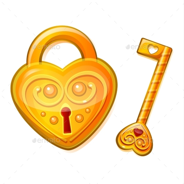 Golden Lock in the Shape of a Heart - Valentines Seasons/Holidays