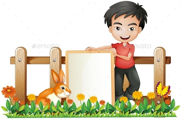 Boy and a Bunny - People Characters