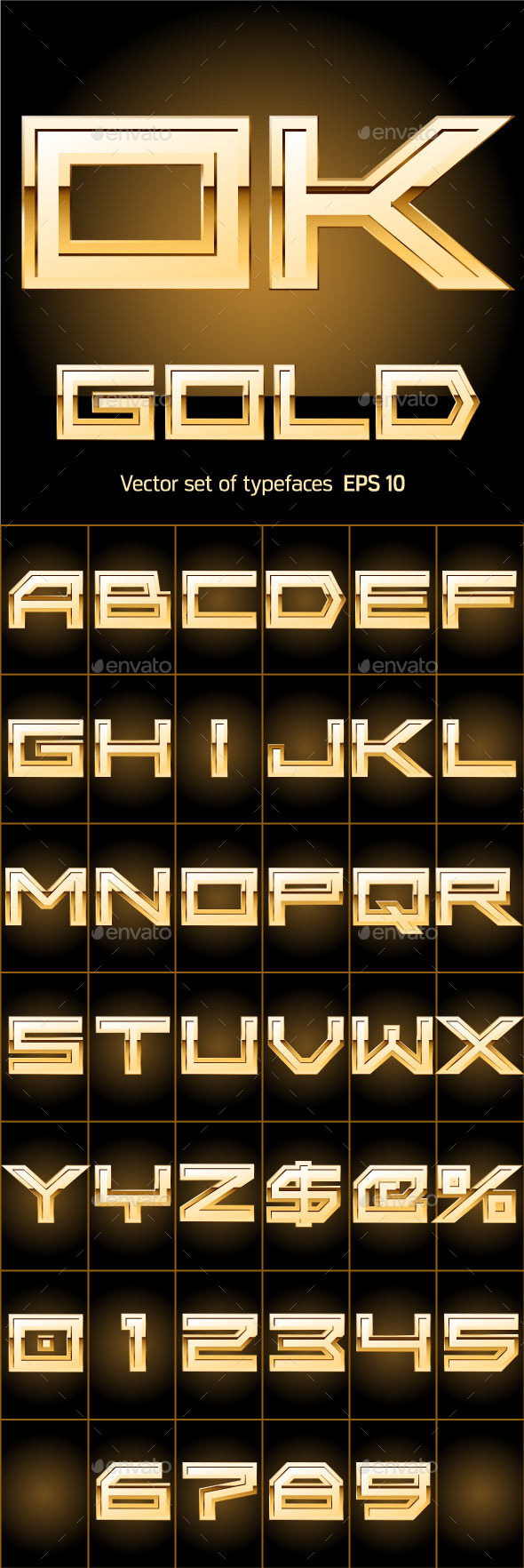 Illustration of Golden Alphabet - Decorative Symbols Decorative