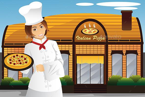 Waitress Holding Pizza - Business Conceptual