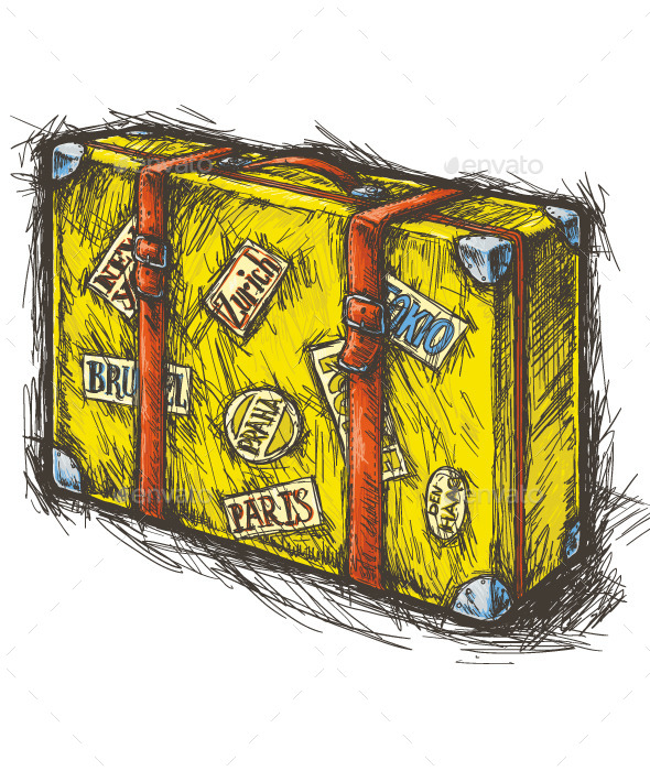 Yellow Suitcase with Stickers - Man-made Objects Objects