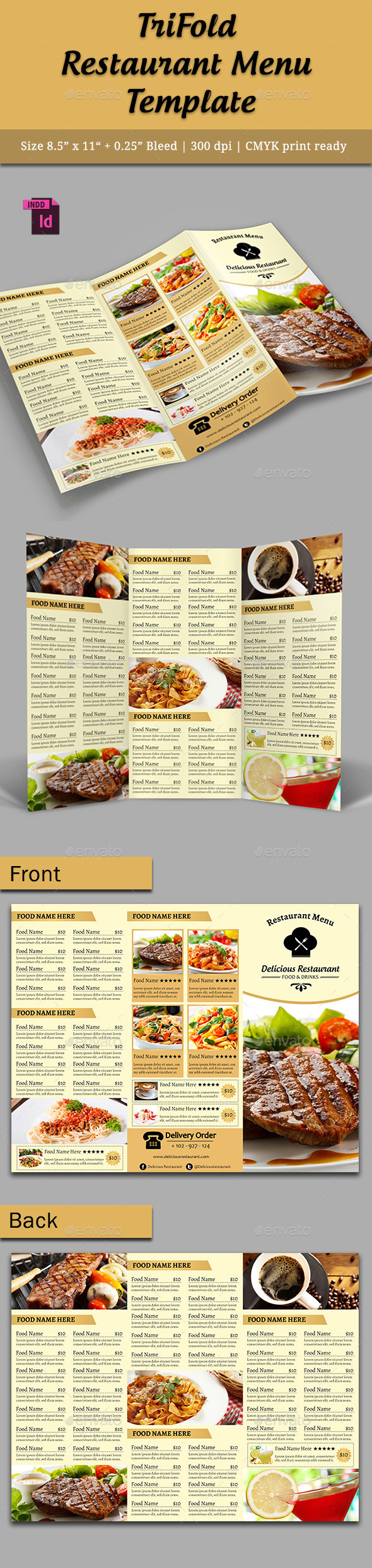 TriFold Restaurant Menu Template Vol. 5 - Food Menus Print Templates