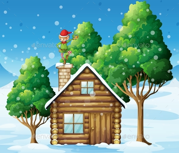 Wooden House with Elf On the Roof - Buildings Objects
