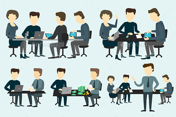 People Working at the Desk. - Conceptual Vectors