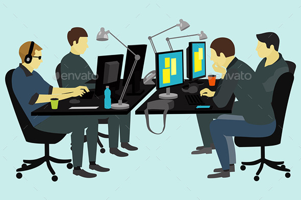 People Working at the Desk. - Business Conceptual