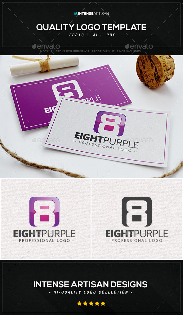 Eight Purple Logo Template - Numbers Logo Templates