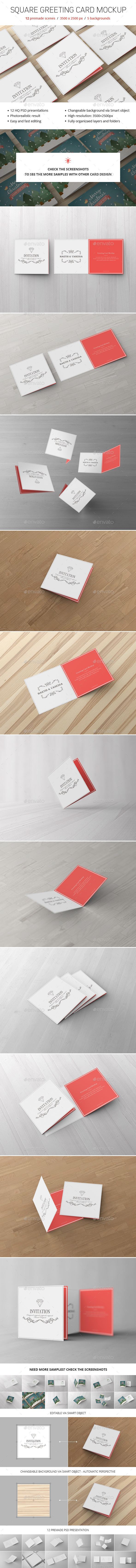 Square Greeting Card Mockup - Brochures Print