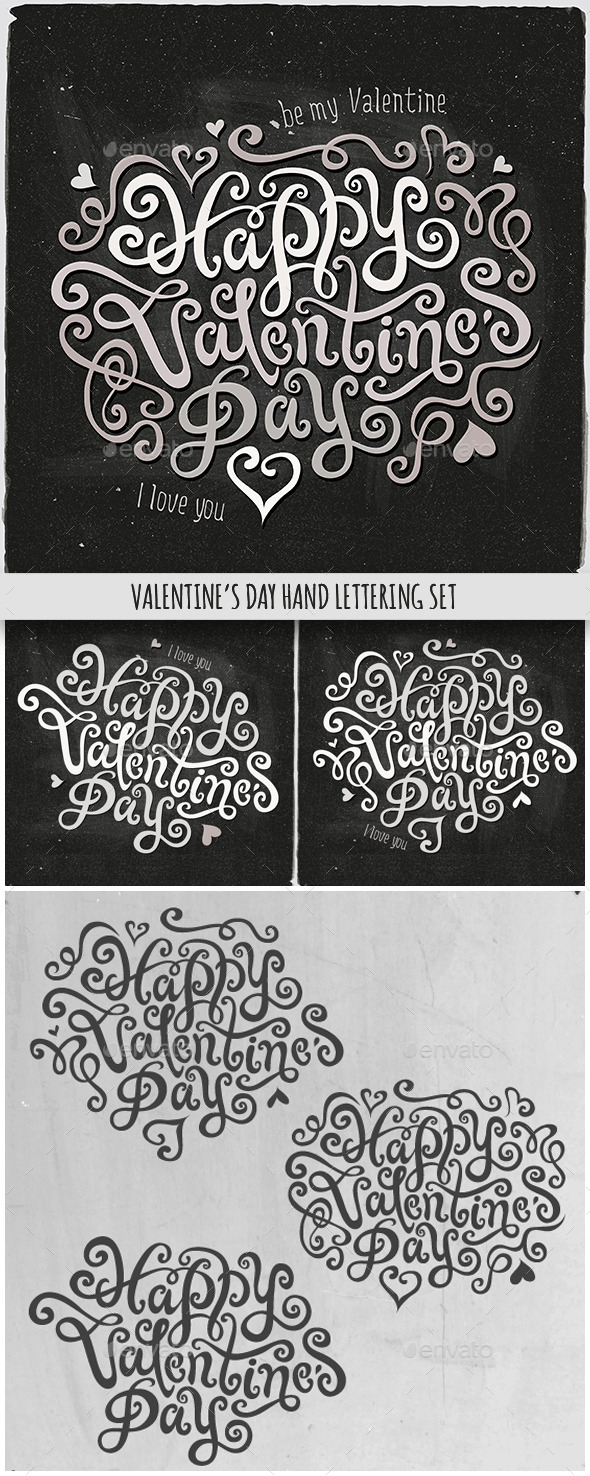Happy Valentine's Day Hand Lettering Set - Valentines Seasons/Holidays