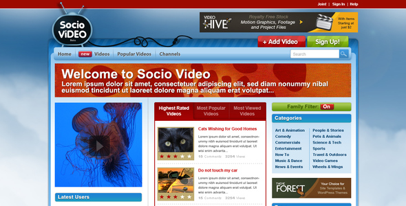 Socio Video Theme - Entertainment PSD Templates