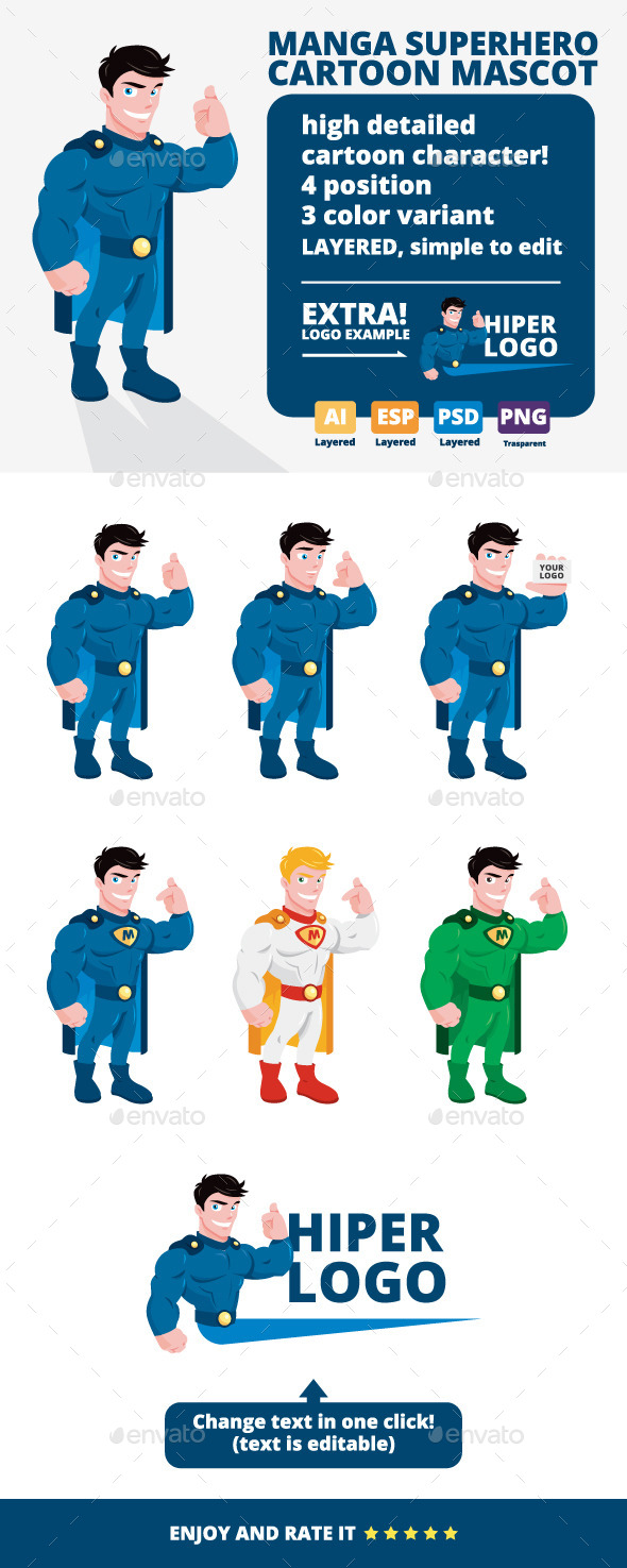 Manga Superhero Cartoon Mascot - People Characters