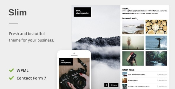 Slim - A Fresh Photography WordPress Theme - Photography Creative