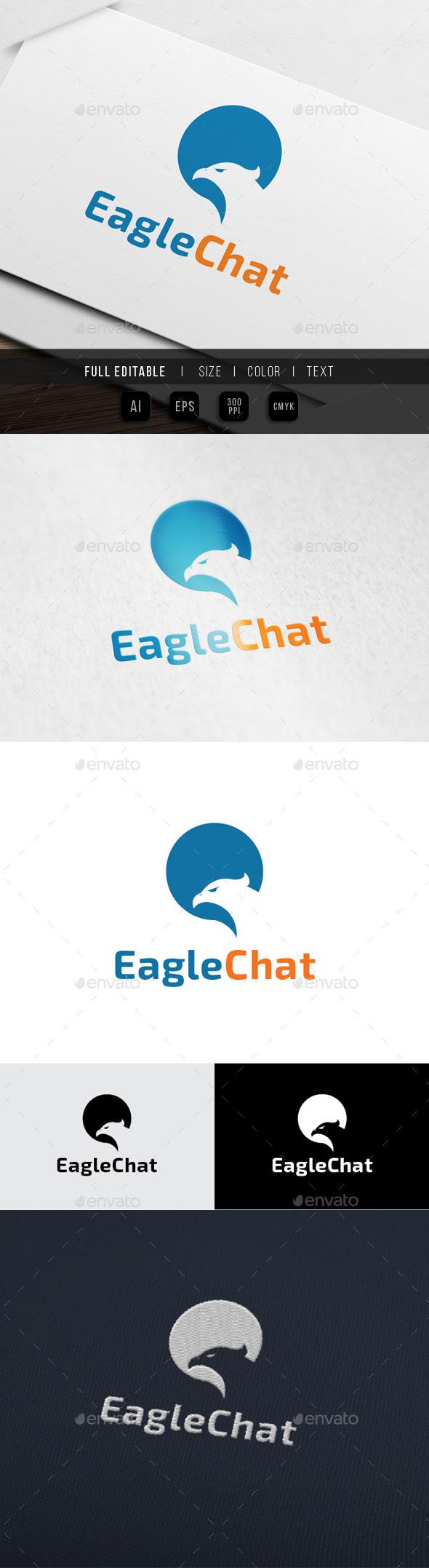 Eagle Chat - Express Logo  - Animals Logo Templates