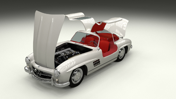 Fully Modelled/Rigged Mercedes 300SL Gullwing - 3DOcean Item for Sale