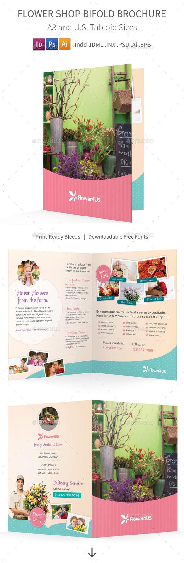 Flower Shop Bifold / Halffold Brochure - Informational Brochures