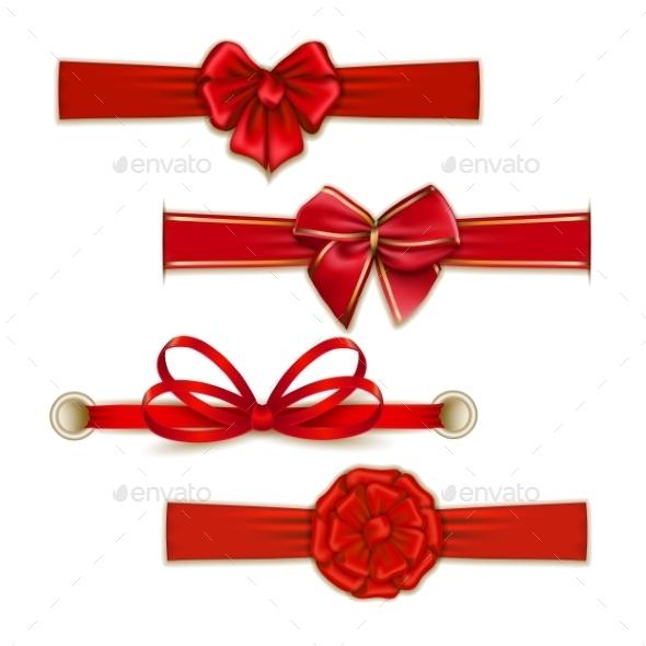 Set of Silk Colored Bows - Decorative Symbols Decorative