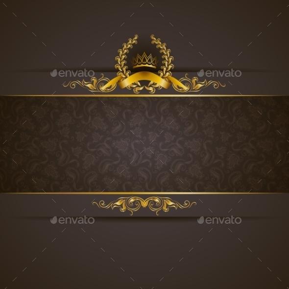 Golden Frame Banner - Backgrounds Decorative