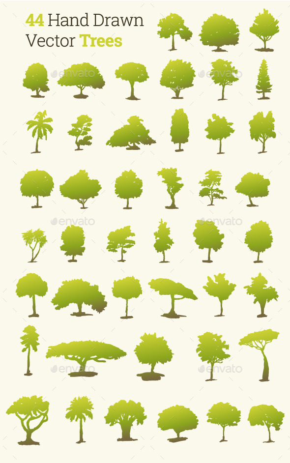 44 Hand Drawn Vector Trees - Flowers & Plants Nature