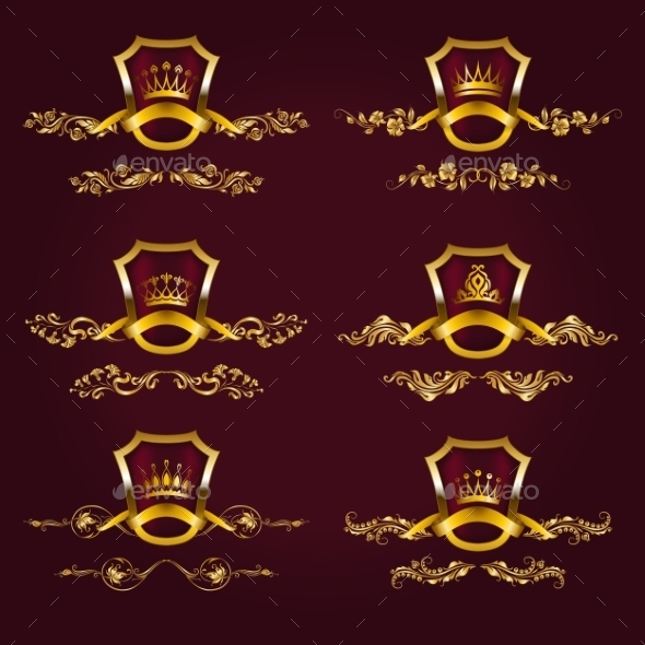 Gold Labels with Laurel Wreath - Decorative Symbols Decorative