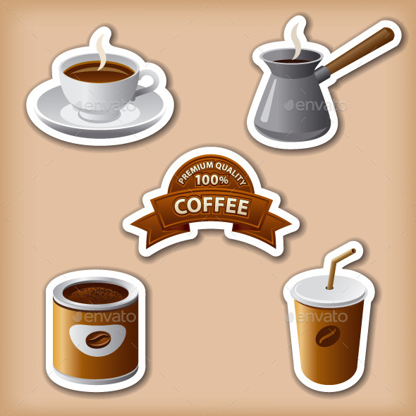 Coffee Stickers - Food Objects