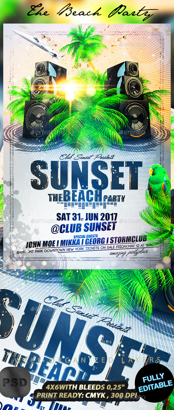 The Beach Party - Events Flyers