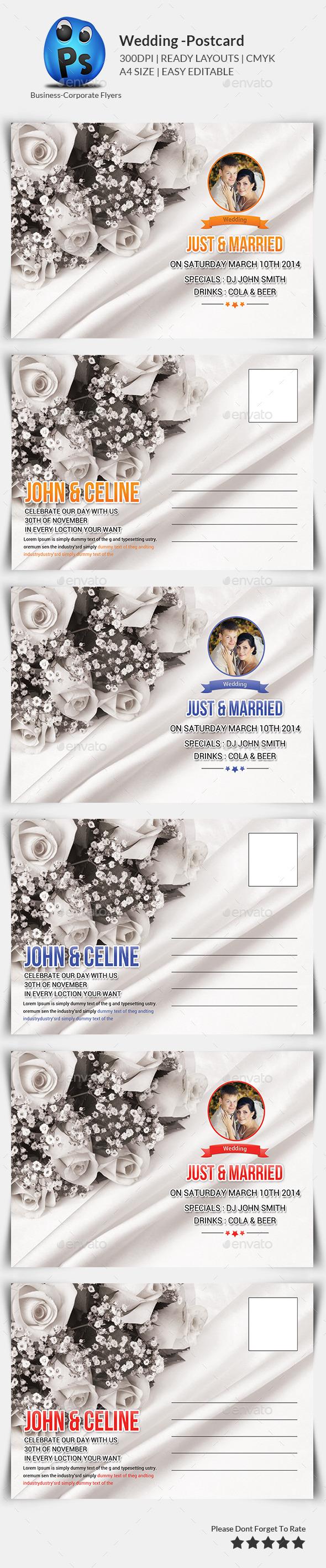 Wedding Postcard Print Templates - Cards & Invites Print Templates