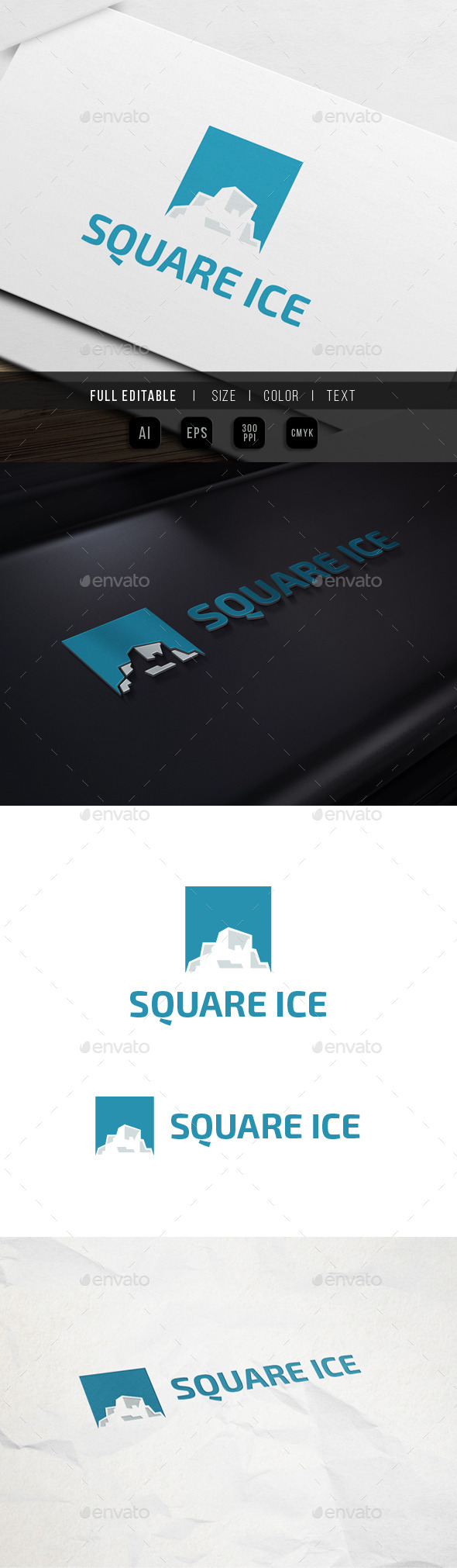 Ice Mountain - Square Climbing - Nature Logo Templates