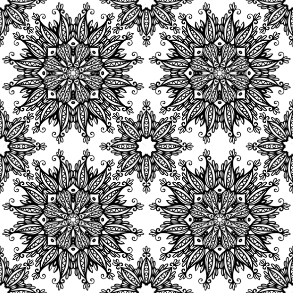 Black and White Vintage Seamless Stars - Backgrounds Decorative