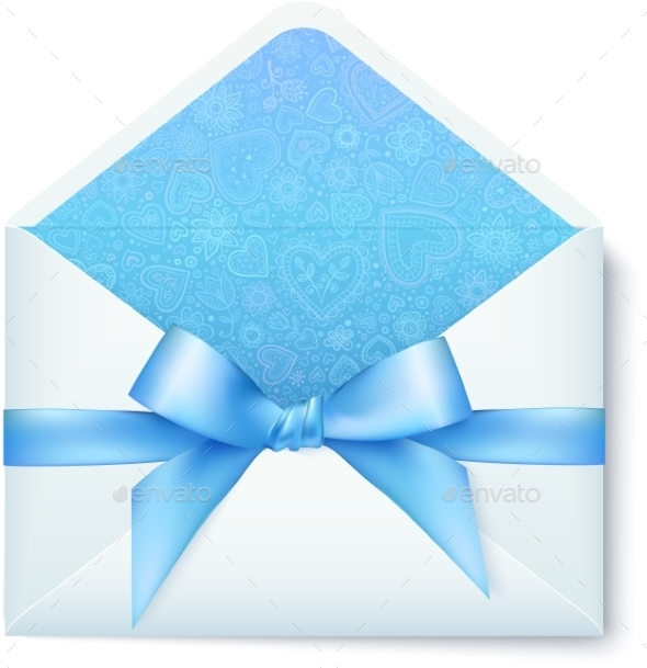 Paper Envelope with Blue Bow - Birthdays Seasons/Holidays