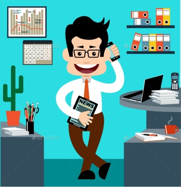 Cartoon Businessman - Backgrounds Business