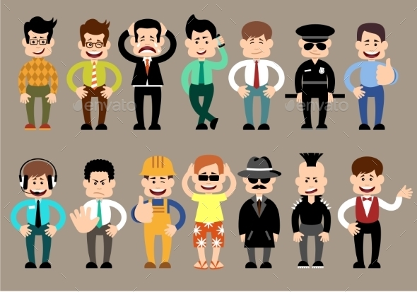 Set of Different Men Characters - Business Conceptual