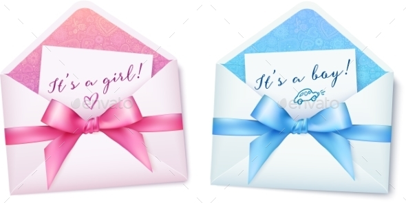Pink and Blue Baby Shower Envelops with Bows - Birthdays Seasons/Holidays