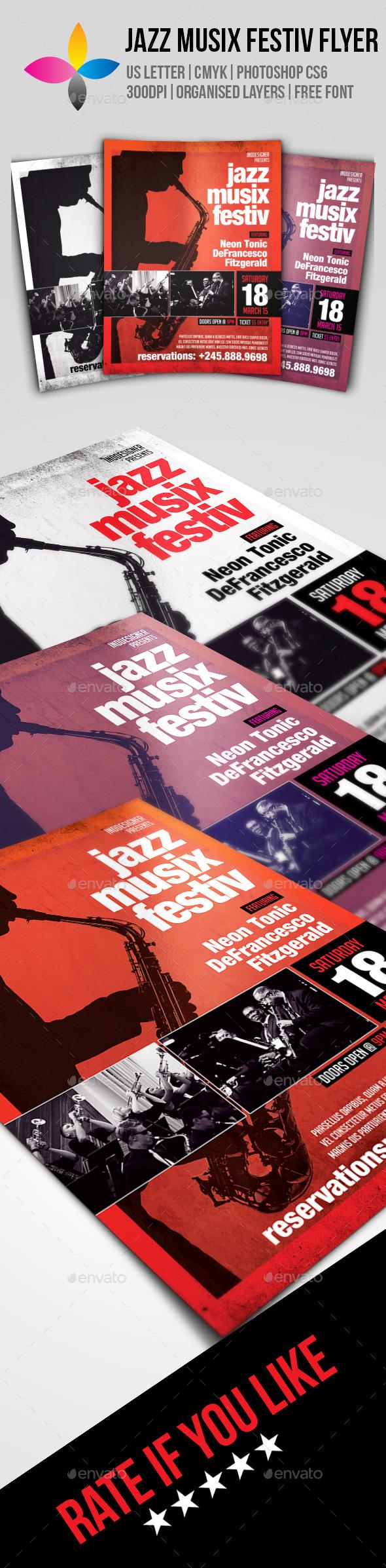 Jazz Musix Festiv Flyer - Clubs & Parties Events