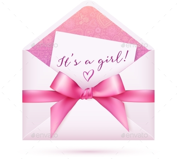 Pink Baby Shower Envelop with Bow - Birthdays Seasons/Holidays
