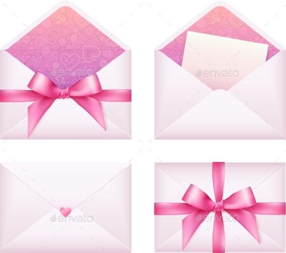 Pink Envelope with Ribbon Set - Seasons/Holidays Conceptual