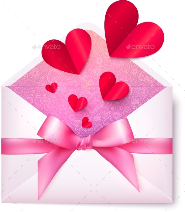 Pink Paper Envelope with Red Hearts and Bow - Valentines Seasons/Holidays
