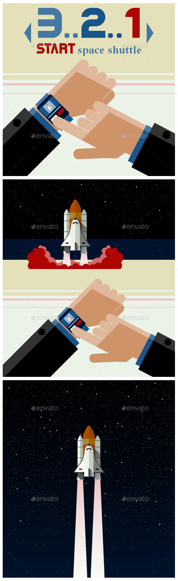 Illustration of Smart Watch and the Space Shuttle - Miscellaneous Conceptual