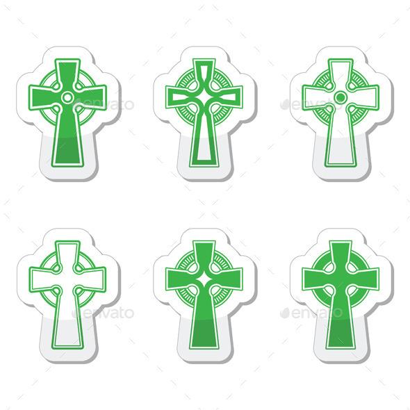 Irish and Scottish Celtic Crosses - Religion Conceptual