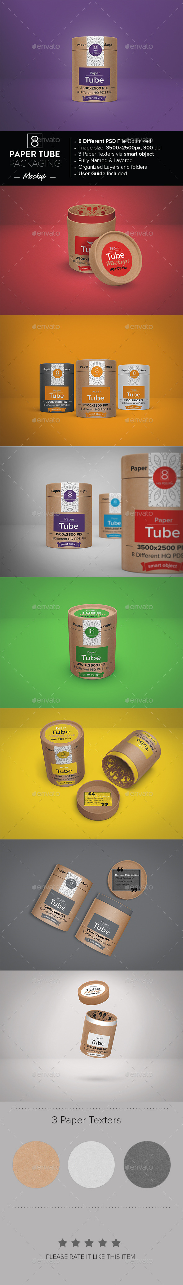 Paper Tube Packaging Mockup - Packaging Product Mock-Ups