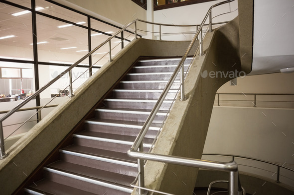 Empty stair way in a college - Stock Photo - Images