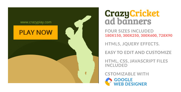 Crazy Cricket Play Sport GWD HTML5 Ad Banner - CodeCanyon Item for Sale