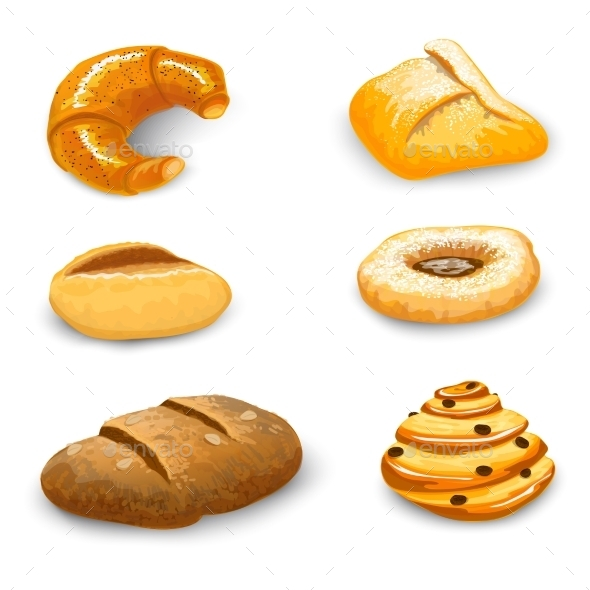 Bakery Set Isolated - Food Objects