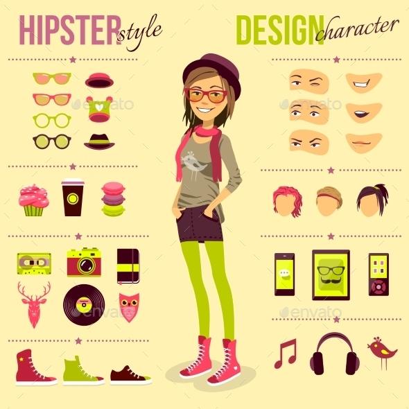 Hipster Girl Set - Decorative Vectors