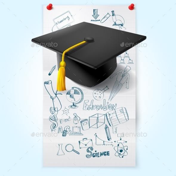 Education Sketch With Hat - Decorative Vectors